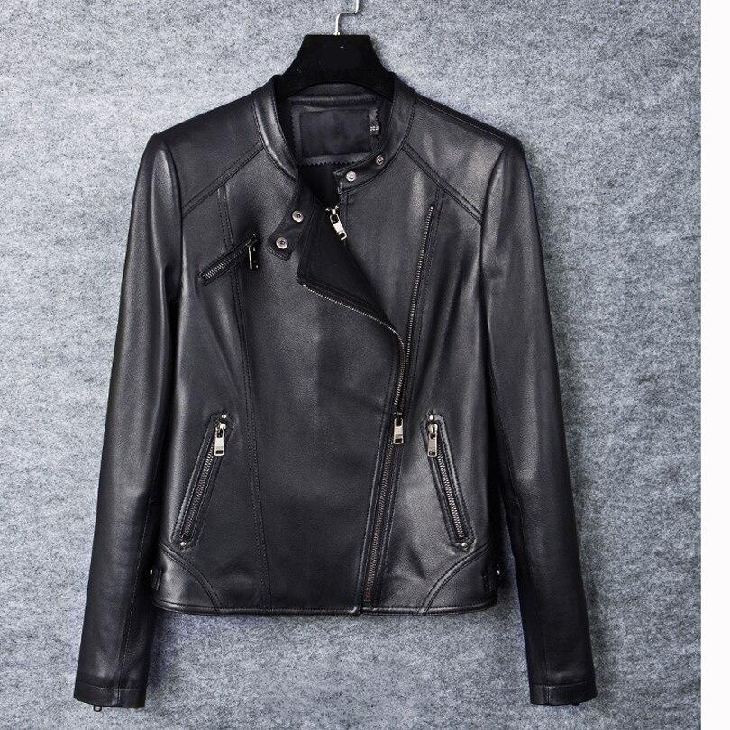 Pour Moto Peau Manteau Réel Zip Femmes Mouton De Court En Veste Couro Vestes Doux 100 Survêtement Cuir Véritable Black 2018 Jaqueta Mince 6aEBwqnW