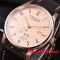 42 мм Parnis мужские часы с розовым золотистым корпусом и циферблатом с арабскими цифрами Дата 5ATM ST1731 Автоматические наручные часы для мужчин 956