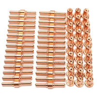 60pcs Air Plasma Cutter Kit Red Copper Extended Long Tip Electrode Nozzles Consumables For PT31 LG40