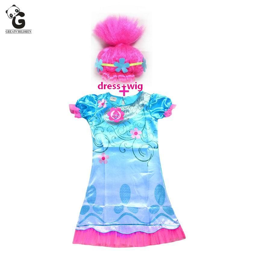 Trolls Poppy Girls Dresses Bobo Choses Dress For Girls Clothes Cosplay Party Trolls Wig Children Clothing Costumes Kids Dress