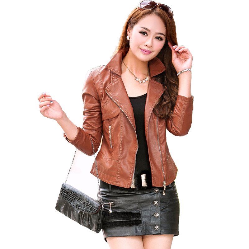 2017 New Spring Autumn   Leather   Jacket Women Fashion Long Sleeve Zipper Brown Faux   Leather   Coats Ladies Motorcycle Biker Jacket