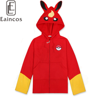 Anime Pokemon Thick Warm Sweatershirt Hoodies Cosplay Party Costume Jacket Casual Hooded Coat Blue/Brown/Grey/Red