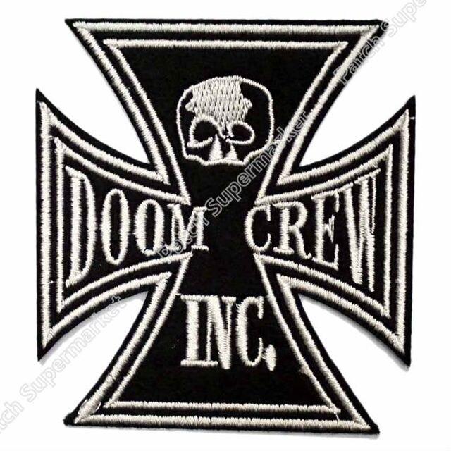 3 doom crew black label society bls iron cross skull skeleton music band logo embroidered