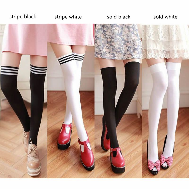 Nye fløyel Nylon kvinner over knestrømper solide striper svart hvite strømper strømpebukser mote bunn engros