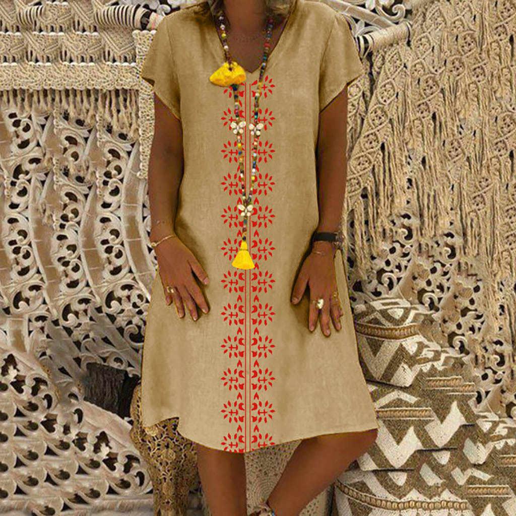 Женское летнее платье с v-образным вырезом из хлопка и льна, повседневные платья размера плюс, модные пляжные платья, вечерние S-5XL платья