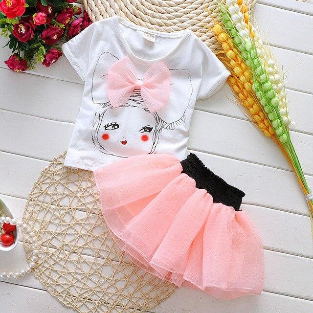 5d2326fc16a67 2015 nueva ropa de bebé conjuntos niños manga corta camiseta + falda ...