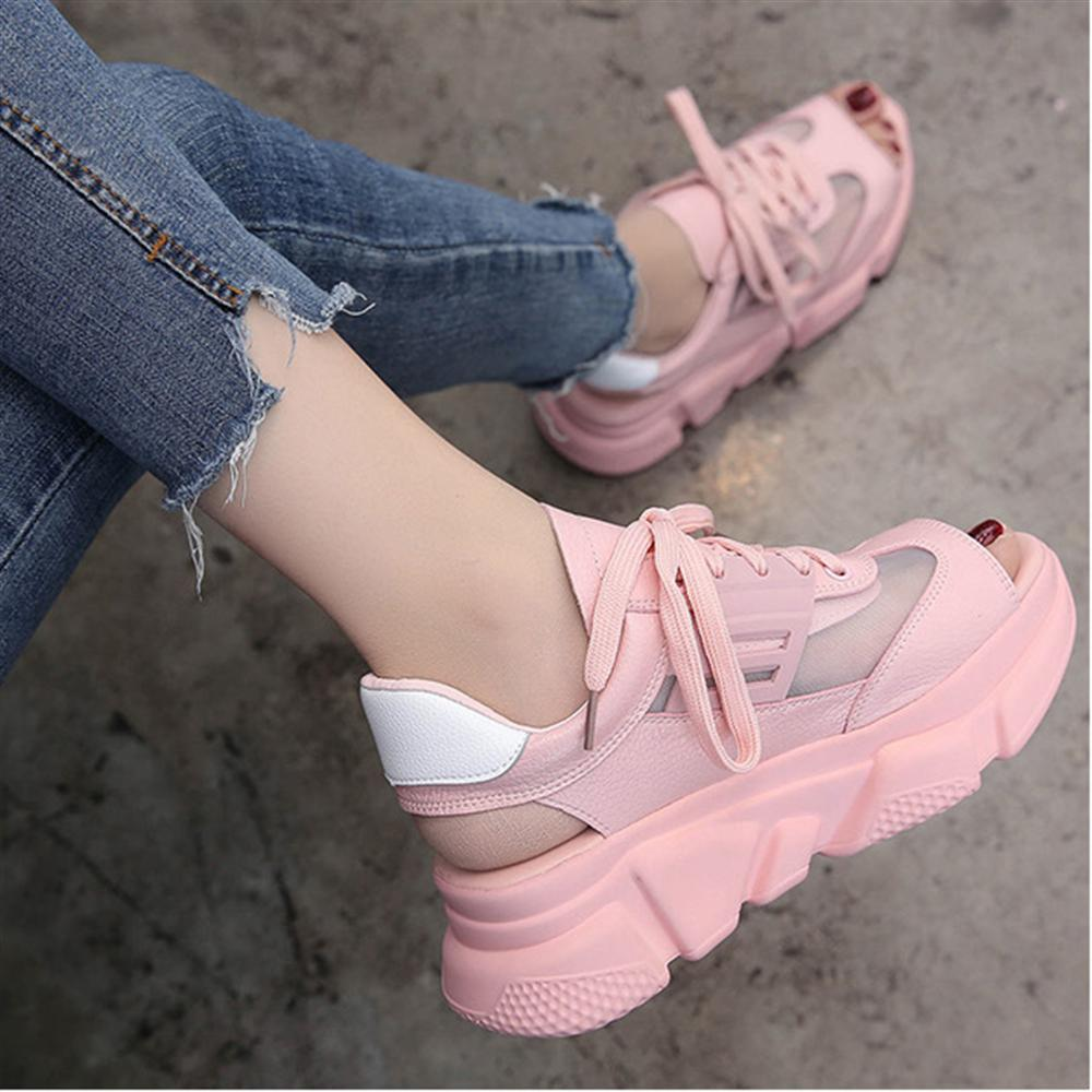 2018 Summer Thick Sole Women Sandals Roma High Heel Ulzzang Platform Sandals Woman Mesh Leather Breathable Female Beach Sandals