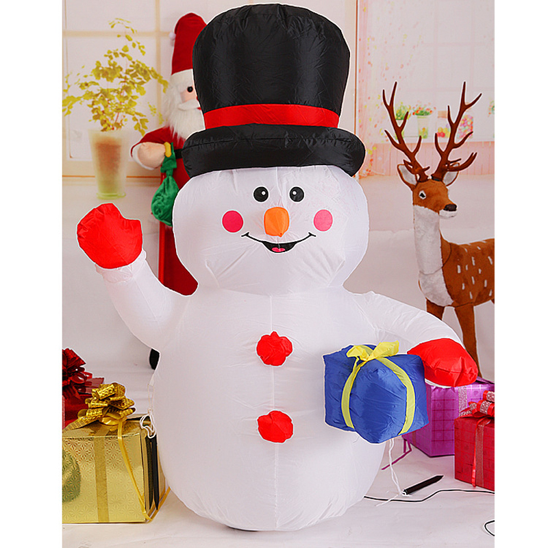 180cm Giant Snowman with Gift Box Christmas Inflatable illuminated Toys New Year Party LED Lighted Props Yard Outdoor Decoration x085 hot sell giant 4 m christmas inflatable snowman for christmas decoration with air blower