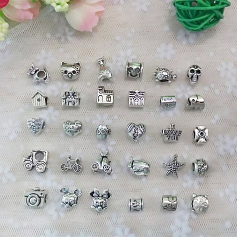 2018 New Free Shipping 30pcs mix style antique Silver Color alloy big hole charms beads fit Pandora bracelet DIY Women Gift