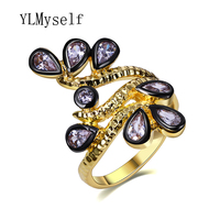 Trendy female rings jewellery Pave with AAA Teardrop Cubic zirconia jewelry in Gold and Black color Waterdrop fashion ring