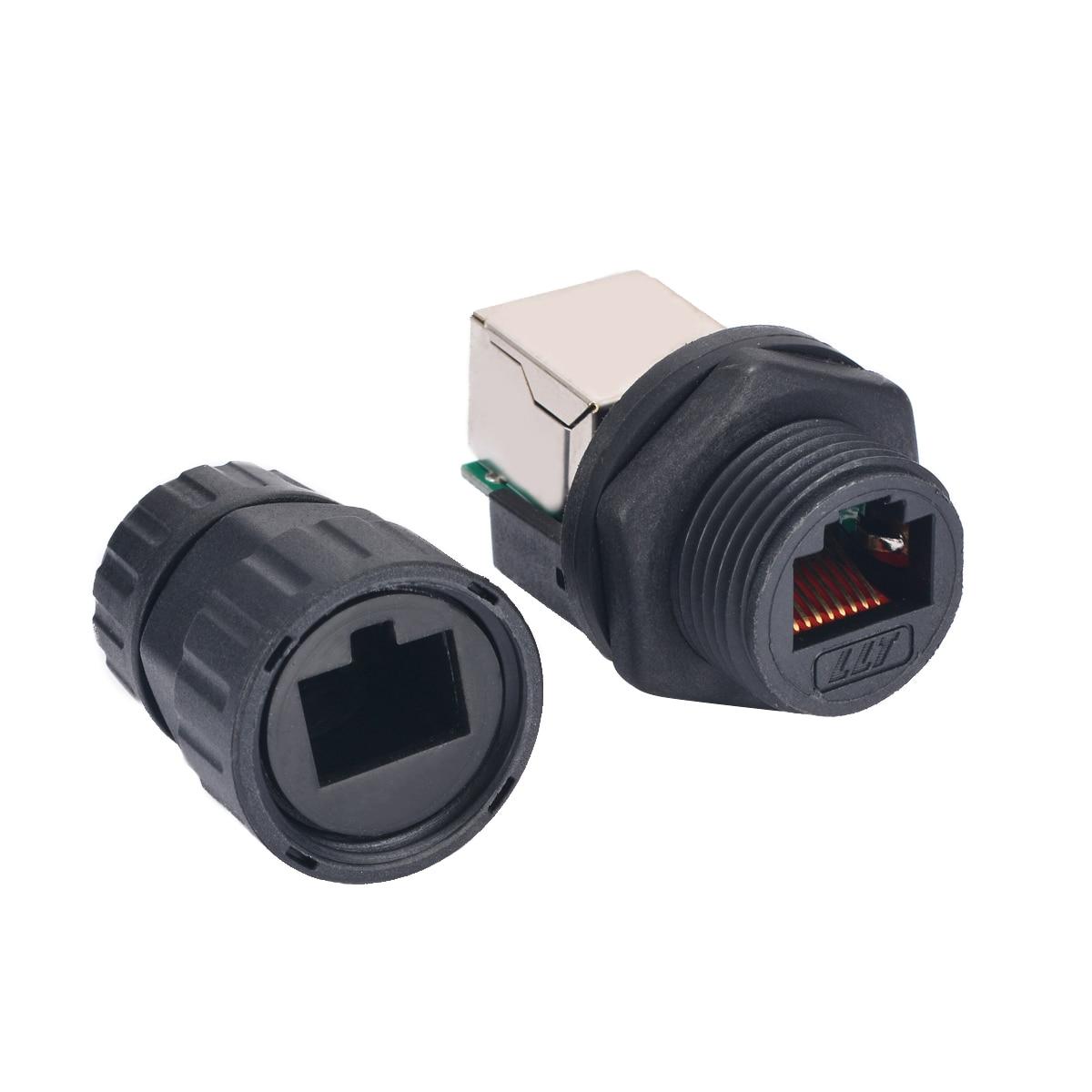 10pcs Ethernet LAN IP68 AP Waterproof Connector 8-Pin RJ45 M25 Black