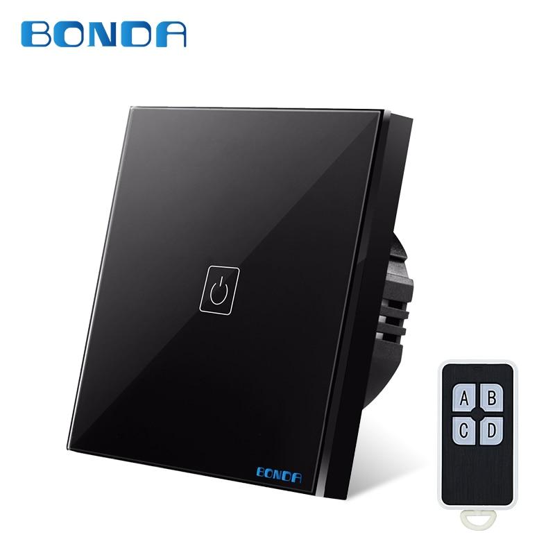все цены на BONDA genuine EU/UK standard one open wireless remote control switch luxury crystal glass panel touch screen wall light switch онлайн