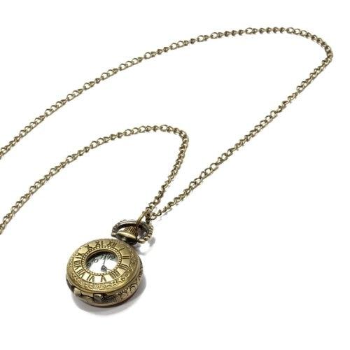YCYS-Quartz Pendant Pocket Watch Chain Antique Bronze Roman Numeral Hollow Hot bronze roman pocket watch antique numerals chain necklace pendant quartz lxh