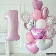 1 conjunto de balões de aniversário do bebê 1st conjunto rosa prata número da folha balão primeiro aniversário decorações crianças balões festa suprimentos
