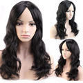 48cm New Long Curly Wavy Black Synthetic Wig Women Ladies Fashion Cosplay Party Anime POP Fancy Dress Shiny Hair