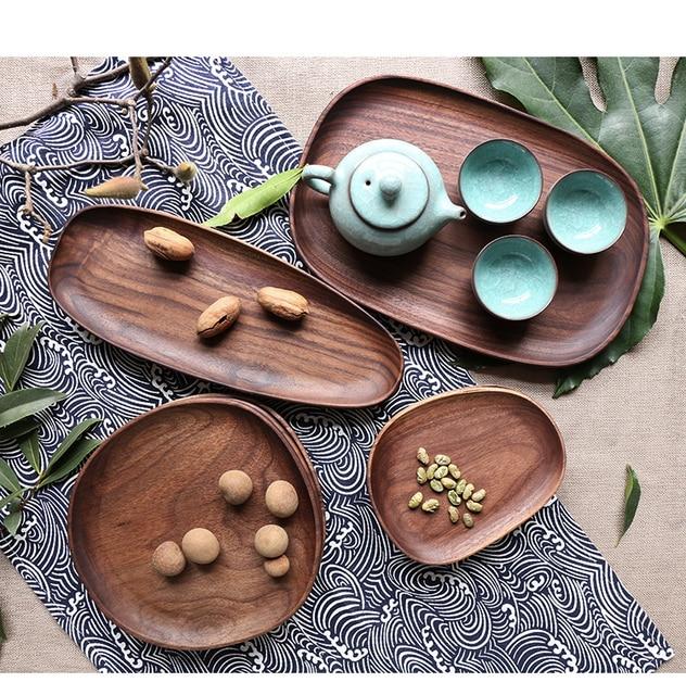 Whole Wood Black Walnut with Irregular Oval Wood Pan Plate Fruit Plate Saucer Tea Tray Dessert Plate 2