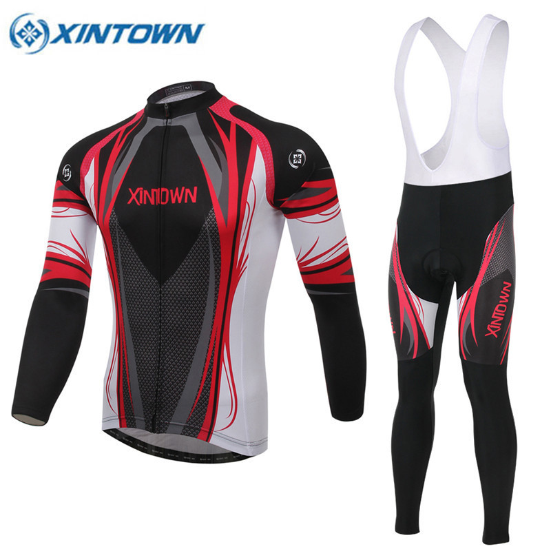 XINTOWN Pro Long Sleeve Cycling Jersey Sets Breathable 3D Padded Sportswear Mountain Bicycle Bike Apparel Cycling Clothing