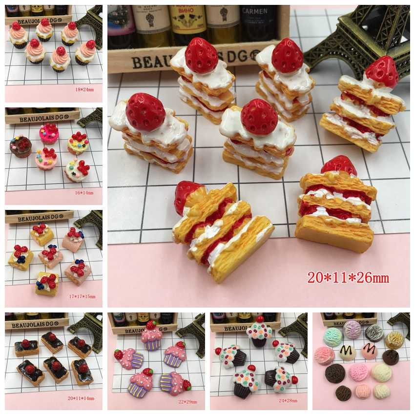 Free Shipping! Resin Strawberry Cake, Adorable Miniature Cakes, Resin Cabochons for Phone Decoration, Crafts Making DIY