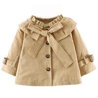 Bebê Crianças Menina Outono Inverno Quente Bonito Bowknot Botão Blusão Jaqueta Casaco de Vento Outwear Roupas