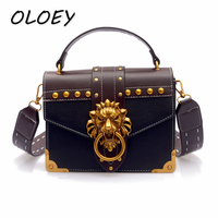 PU Leather Messenger Crossbody Bags Luxury Famous Brand Shoulder Bags Female Lion Head Lock Handbag Women Fashion Party Clutch#