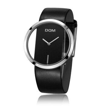 DOM fashion Women Watches Japan Movement Women's watches Quartz Watch wristwatch girl waterproof simple Clock genuine leather 11