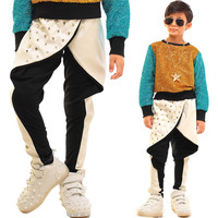 Kids Adult Boys Rivet Faux Leather Sweatpant Costumes Panelled Patchwork Slim Pencil Pants White Black Harem Hip hop dance pants
