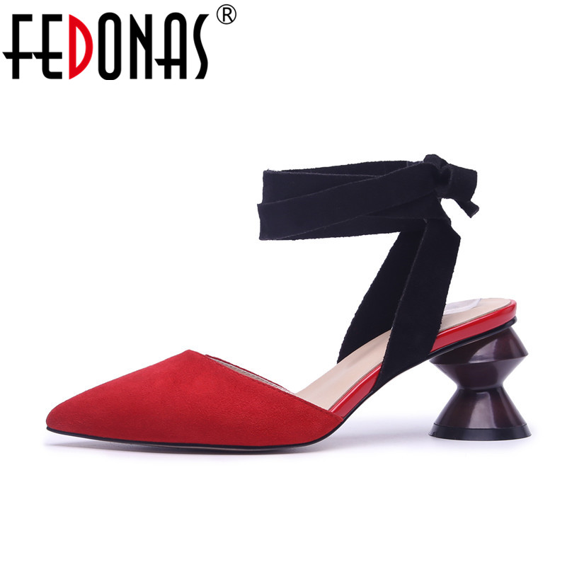 FEDONAS 2018 Women Sandals Summer Suede Pointed Toe Women's Sandals High Heels Sexy Ankle Strappy Wedding Party Shoes Woman fedonas sexy women sandals high heel buckles wedding party shoes woman genuine leather ladies shoes pointed toe summer slippers