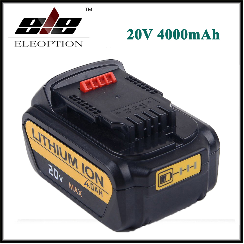 Eleoption 20V 4000mAh For Replacement Battery for DCB200 DCB181 DCB182 DCB204-2 Rechargeable Li-ion Battery melasta 20v 4000mah lithiun ion battery charger for dewalt dcb200 dcb204 2 dcb180 dcb181 dcb182 dcb203 dcb201 dcb201 2 dcd740