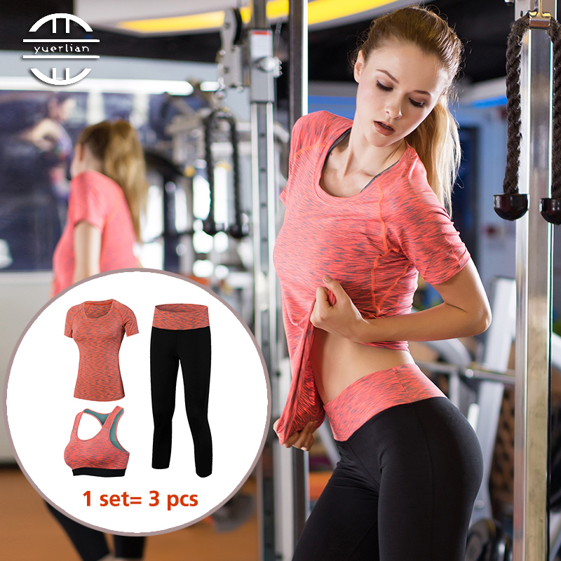 YD Professional 3 in 1 Yoga Set Quick Dry Workout Sport Suit Tights Sexy Top Gym
