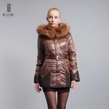 BASIC-EDITIONS 2016 NEW Women's Winter Jacket Fox Fur Collar Slim Style Waistband Down Jacket M-4XL 11W-54