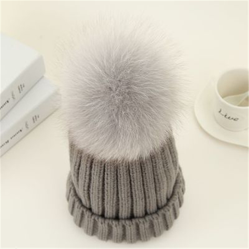 Real Fox Fur Winter Hat For Women Lady Girl  Solid Thick Knitting Wool Warm Cap Big Hair Ball The New Fashion Beanie Skull the new children s cubs hat qiu dong with cartoon animals knitting wool cap and pile