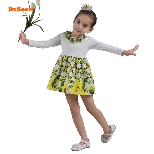 Dzboom осень 2017 г. цветочный Платья принцессы для девочек новый цветок печатных хлопковые детские Выпускной платья для девочек Повседневное партии