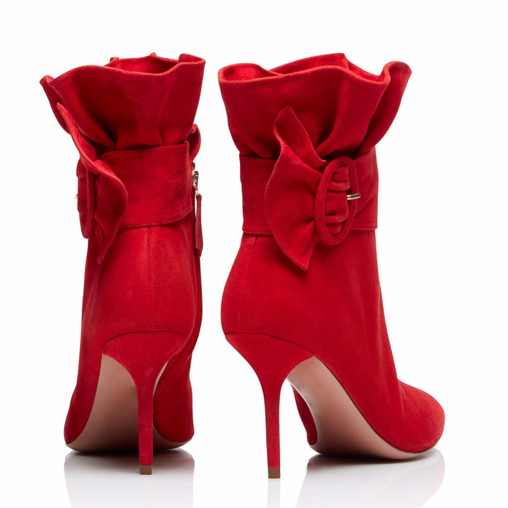 Pie Plisado Otoño Delgados Zapatos Del Negro Tacón De 2019 Sexy Tobillo Dedo Mujeres Alto Tacones Caliente Gran Damas Tamaño Botas Invierno Las Puntiagudo Elegante zHpqgHf