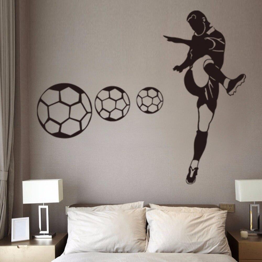 US $11.99 25% di SCONTO|Stivali personalizzati Calcio Wall Stickers Camera  Da Letto Studenti Dormitori murales Fitness Club Club di Calcio Maschile ...