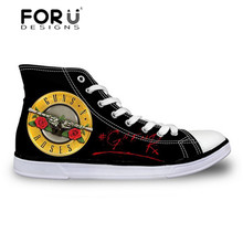 2016 New Design Men's Shoes Gun n rose Printed Canvas Shoes Men College Boys Male Flat Shoe Man Skull Fashion Walking Footwear