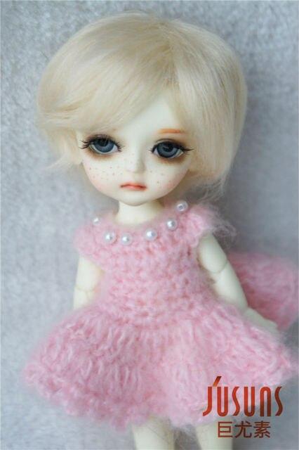 JD032 5-6inch 1/8 100% Mohair doll wigs Short Boyish cut BJD hair Lati yellow size doll accessories