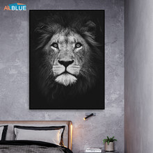 Abstract Canvas Animal Posters And Prints Lion Deer Paintings For Living Room Wall Art Decorative Pictures Black And White Decor(China)