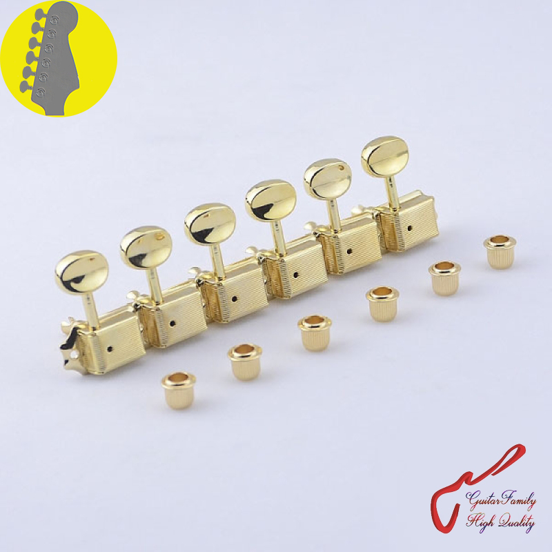 1 Set GuitarFamily  6 In-line  Kluson Vintage  Guitar Machine Heads Tuners  ( Gold ) MADE IN KOREA 1 set guitarfamily 6 in line kluson vintage guitar machine heads tuners nickel made in korea