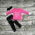 Детские девушки Осень дети бутик одежды рябить ярко-розовый топ работает на кексы и Juses черный блестками брюки ожерелье и лук