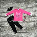 baby girls Fall kids boutique clothing ruffle hot pink top runs on the cupcakes and Juses black sequins pant necklace and bow