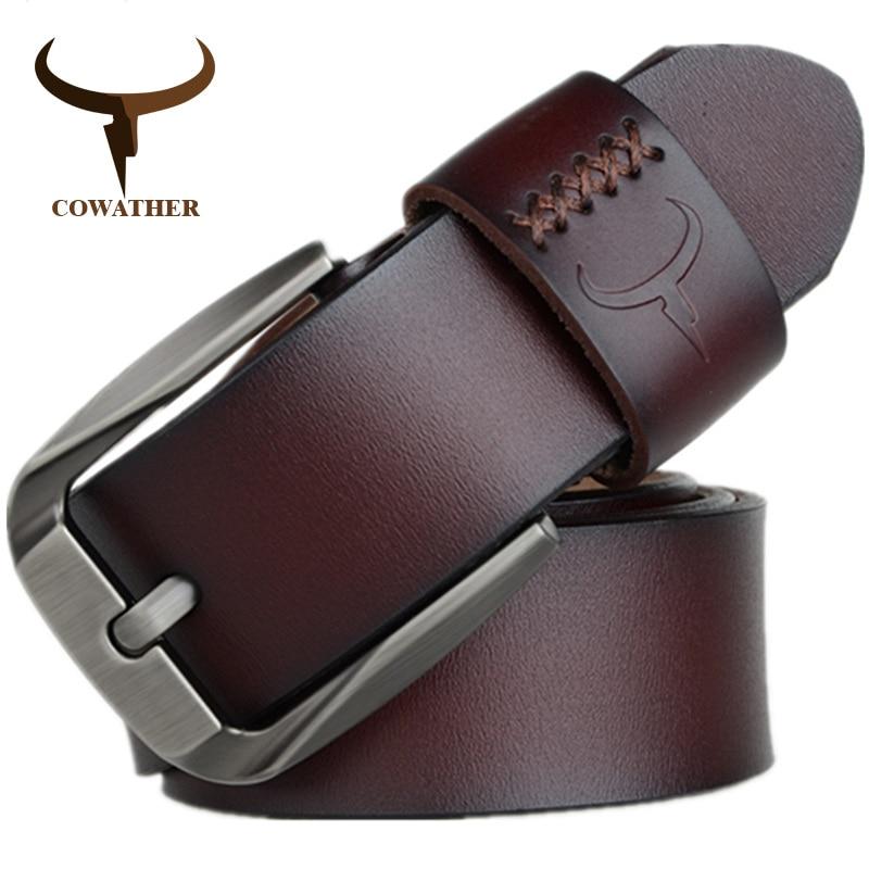 COWATHER Vintage stil pin schnalle kuh echtes leder gürtel für männer 130cm hohe qualität herren gürtel cinturones hombre freies verschiffen