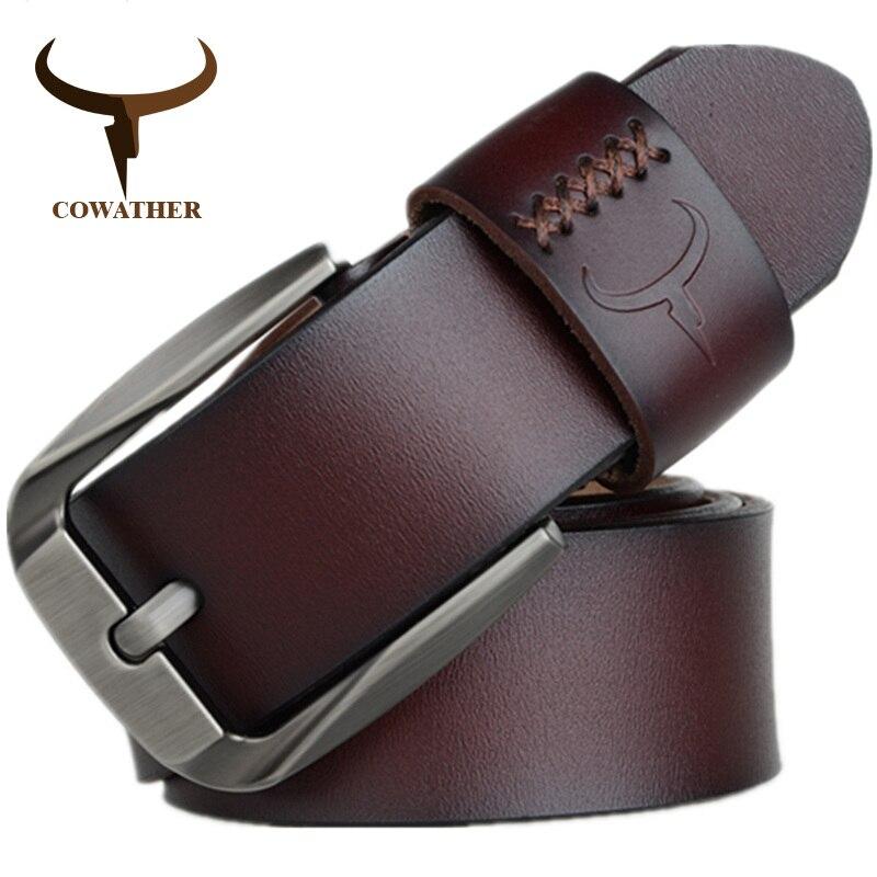 COWATHER Vintage stil pin schnalle kuh echtes leder gürtel für männer 130 cm hohe qualität herren gürtel cinturones hombre freies verschiffen