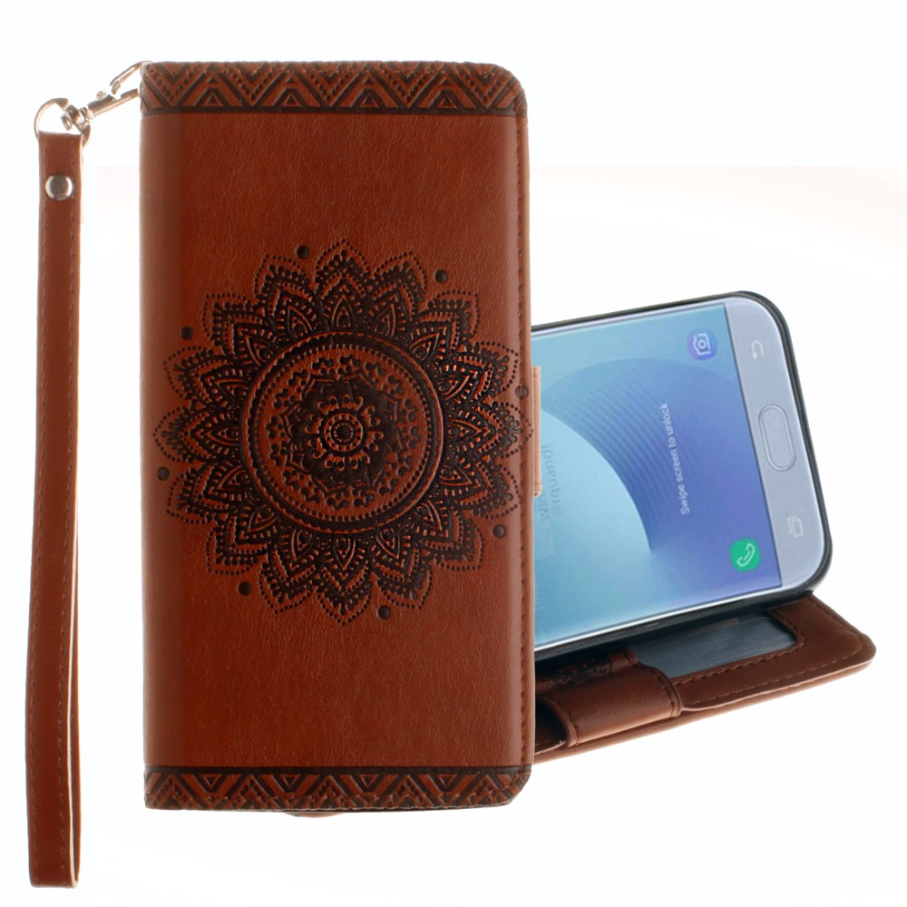 20pcslot Free shipping Embossed flower 2 card book style leather case cover for Samsung Galaxy J3 J5 J7 2017 J330 J530 J730