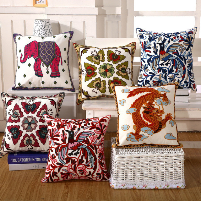 Modern Embroidery Cotton Pillowcase Handmade Embroidered Cushion