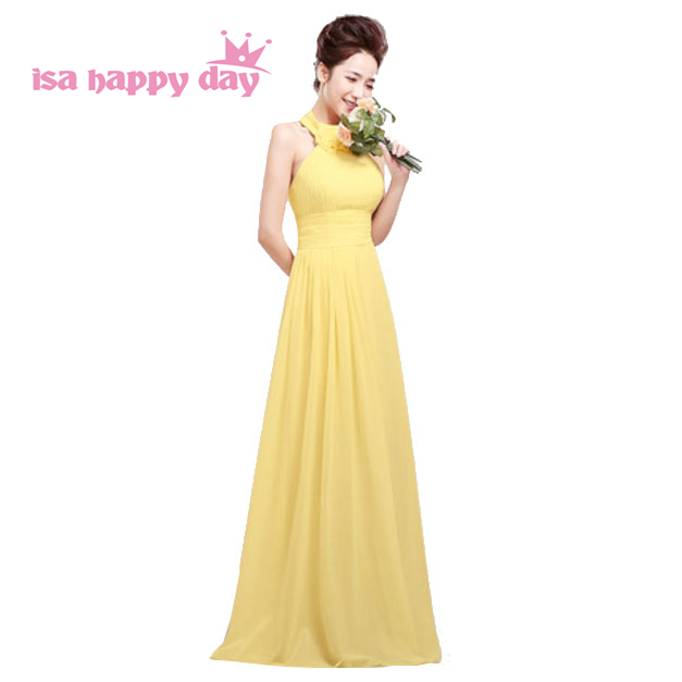 vestidos yellow halter long homecoming dress gowns 2019 new arrival formal special occasion dresses gown made in china H1178