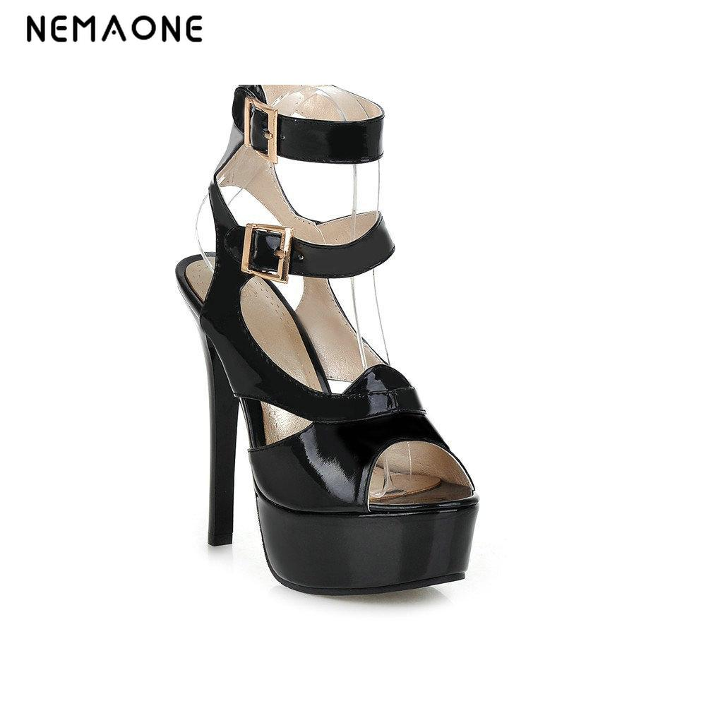 2017 New women sandals high heels shoes woman sexy summer sandals double ankle strap party wedding shoes large size 34-43 women sexy white high heels wedding and party fashion thick heels sandals 2016 summer hot sale large size women s shoes