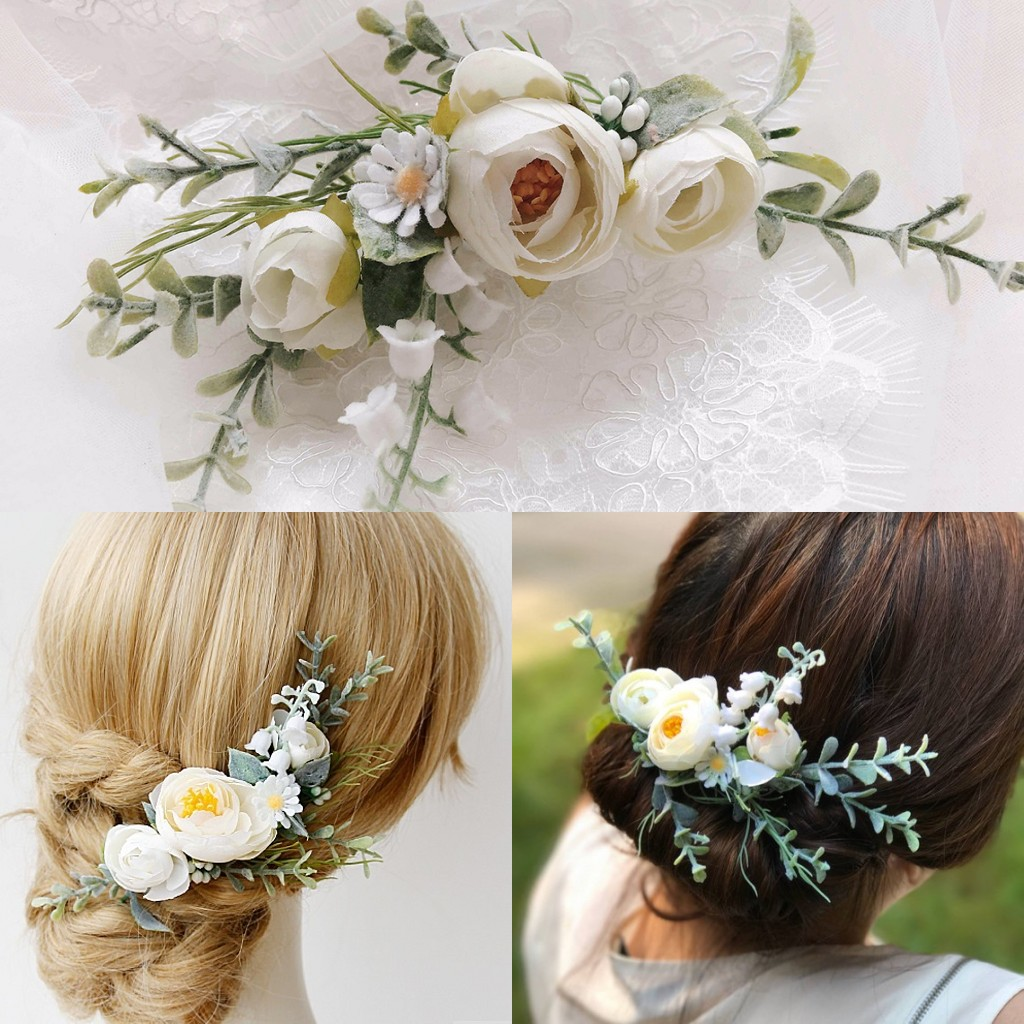 Greeny Bridal Headpiece Wedding Handband Flower Hair Comb 2019 Wedding Accessories Wedding White Flower Hair Boho Flower CrownBridal Headwear   -
