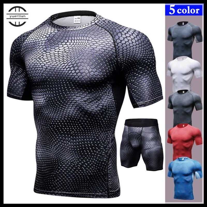100p! Men Pro Fitness Sets,3D Print Tight T-shirt+Shorts,Cool High Elastic Quick-dry Wicking Sporting Short Sleeve Shirts+Boxers