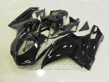 Free customize fairings for Ducati 848 1098 07 08 09 10 11 glossy black motorcycle fairing kit 848 1098 2007-2011 AS11