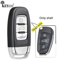 KEYECU 10x for Audi A6L Q7 Folding Model Upgraded 3 Button Keyless Go Smart Remote Car Key Shell Case Cover Fob with Blade